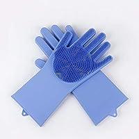 Kth シリコーン製食器洗い用手袋食器洗い用ブラシ家庭用手袋滑り止め着用不可能な台所用手袋魔法の家庭用手袋 (Color : ブルー)