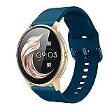 Kobmand Correas Compatible AGPTEK LW11,Correa de Reloj de Silicona de Repuesto de 22MM con Cubo para AGPTEK (Modellnummer LW11) (Azul marino)