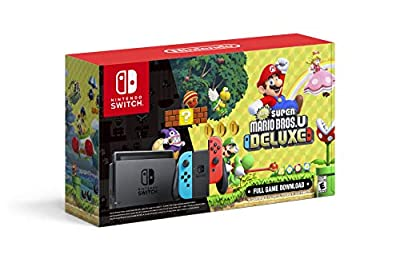Nintendo Switch with Neon Blue and Neon Red Joy?Con + New Super Mario Bros. U Deluxe (Full Game Download) - Switch Console by Nintendo