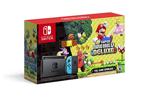 Nintendo Switch with Neon Blue and Neon Red Joy‑Con + New Super Mario Bros. U Deluxe (Full Game Download) - Switch Console