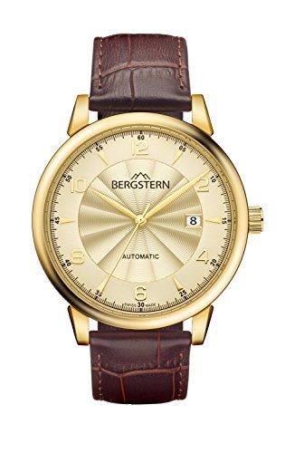 Orologio bergstern per uomo con tracolla marrone e schermo in bianco...