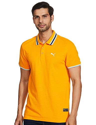 Puma Men's Regular Polo Shirt (58256602_Yellow Large)