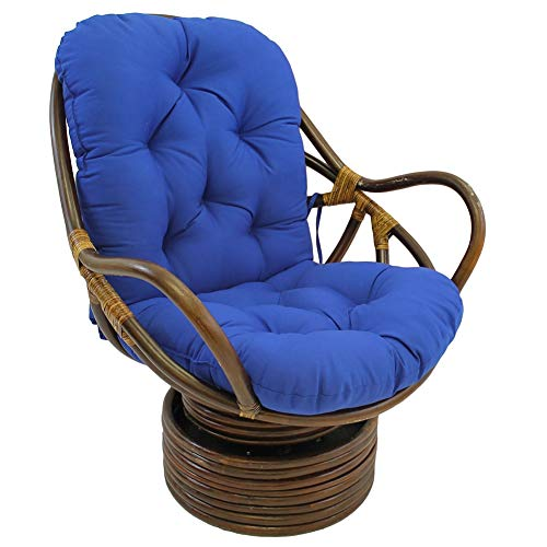 CYAYQ Not Rattan Frame for Outdoor Patio,Needles Papasan Rattan Cushion,Soft Solid Twill Swivel Rocker Waterproof Pads-Dark Blue 48x24x5inch