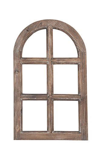 Deko-Fensterrahmen Holz- Rahmen Fenster-Attrappe Holz Natur Vintage Optik Oben halbrund