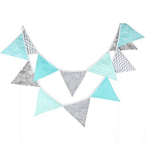 Oblique Unique® Bunte Wimpel Girlande Baumwolle Wimpelkette Doppelseitig Farbenfroh Drinnen & Draußen - Motiv wählbar (Türkis-Grau)