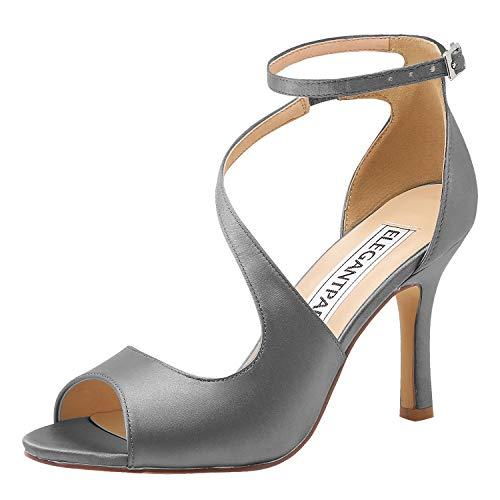 clasificación y comparación Elegant Park HP1565 Sandalias con punta abierta para damas Boda Satén Tacón de aguja Correa de tobillo … para casa