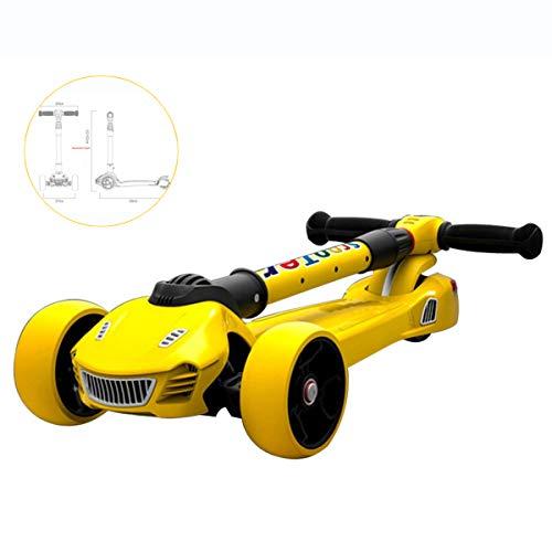 Shuang Scooter per Bambini Radio Flyer, Scooter per Bambini, Scooter a Tre Ruote Lampeggiante/Scooter Pieghevole per Bambini Yo-Yo per Bambini [Telaio Auto + luci + Mulino a Vento + Nastro]