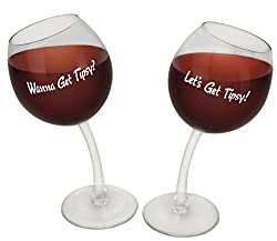 BigMouth Inc Tipsy Wine Glasses, Set of 2 Novelty Wine Glasses, Each Holds 12 Oz, Fun Wine Holder Gift
