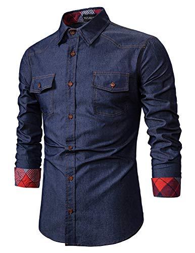 YCUEUST Hombre Casual Camisa Vaquera de Manga Larga con Botones Azul XX-Large