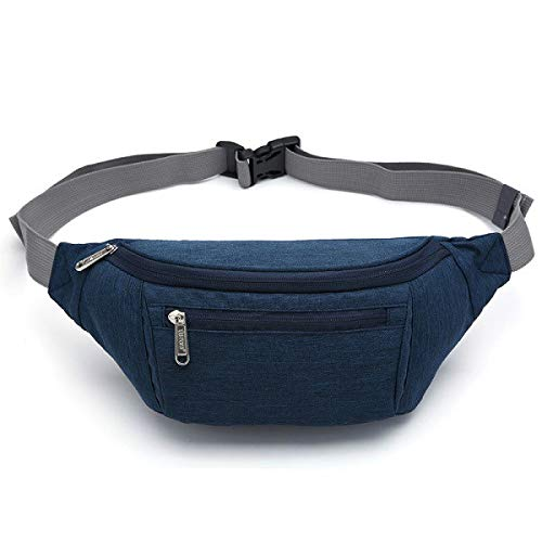 Men Waist Bag Pack Travel Phone Belt Bag Pouch for Men Women Casual Shoulder Crossbody Canvas Bag for Belt Unisex - Waist Bag Blue,a