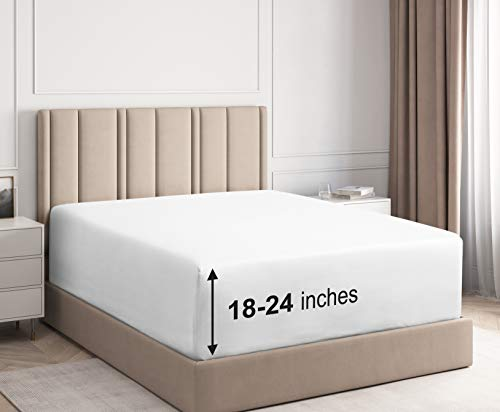 Extra Deep Pocket Fitted Sheet - Single Fitted Sheet Only - Extra Deep Pockets King Size Sheets - Fits 18 In to 24 In Mattress - Extra Deep King Fitted Sheet - Deep Pockets that Actually Fits Mattress