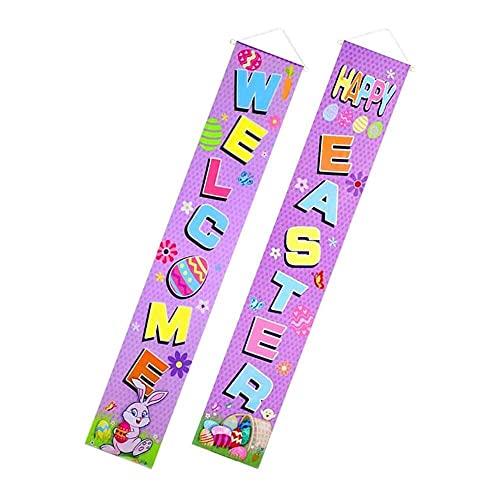 Gmasuber 1 par de banderines para puerta de Pascua con texto en inglés 'Happy East' para colgar en el porche, para decoración de fiestas de Pascua, para puerta y jardín al aire libre