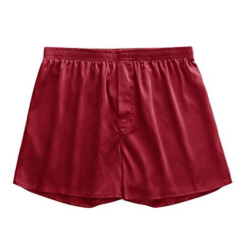 Frestepvie Herren Boxershort Sportlich Männer Unterhose Klassische Unterwäsche Atmungsaktive Silk Schlafanzughose Pyjamahose Kurz Satin Glanz Boxershorts