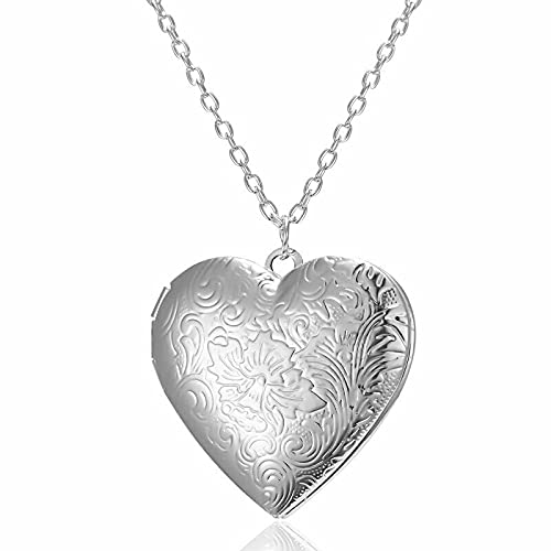 Memory Floating Heart Love Open Necklace Pendant Thanksgiving Day Jewelry - Carve Flower