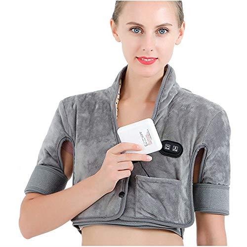 Almohadilla térmica para alivio del dolor de cuello y hombro, 3 ajustes de calor, 3 ajustes de vibración, batería recargable de 10400 mAh, terapia de calor infrarrojo lejano, sal marina, S