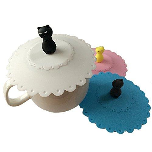 Wuzmei Lot de 3 couvre-tasses en silicone avec chat
