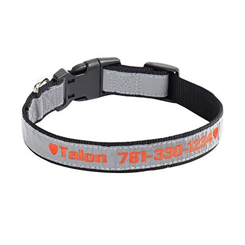 Collare per Cane, collari per Cani con ID Personalizzata Ricamati Collari per Cani di Sicurezza in Nylon Riflettente per di Taglia Grande Medio Piccolo (Nero)