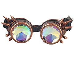 ZAIQUN Kaleidoscope Glasses Rivet Steampunk Windproof Mirror Vintage Gothic Rave Rainbow Crystal Lenses Steampunk Goggles #2