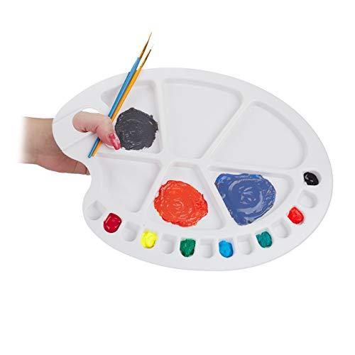 Relaxdays Paleta Pintura de Mezclas con Orificio para Pulgar y 20 Compartimentos, Plástico, Blanco, 1,5 x 34 x 25 cm
