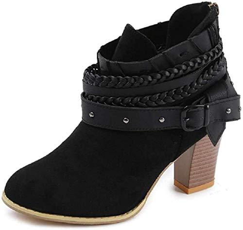 Minetom Damen Stiefelette Ankle Boots Herbst Winter Retro Sexy Mode Casual Elegant Dicke Absatz High Heels Frauen Stiefel Schwarz EU 39