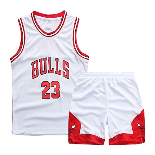 Bull Team, 23#, weiß, Kinderbasketballuniformen, Stickbasketballuniformen, bequem, atmungsaktiv und schnell trocknend, wiederwaschbar, geeignet, Kindersportbekleidung-XXL