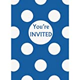 Royal Blue Polka Dot Party Invitations, 8ct