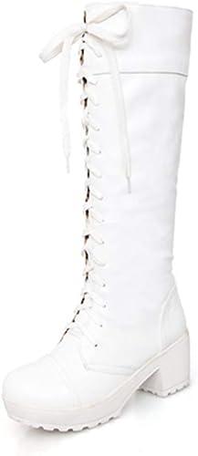 ZHRUI Bottes à Lacets pour Femmes, à Talon carré (Couleuré   Blanc, Taille   7 UK)