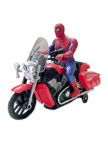 Abhik Enterprises Bump and Go Spiderman Bike Toy , Battery Operated Light Sound Bike, Avenger Spider Man Musical Motorcycle Motor Bike Toy for Kids Toddler Light Music Bike