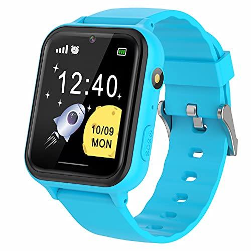 PTHTECHUS Reloj Inteligente niño - Música Smartwatch para Niños Pantalla Táctil con podómetro Juegos Cámara Linterna Alarma Reloj niños y niñas de 8-12 años Regalo, S19 Azul