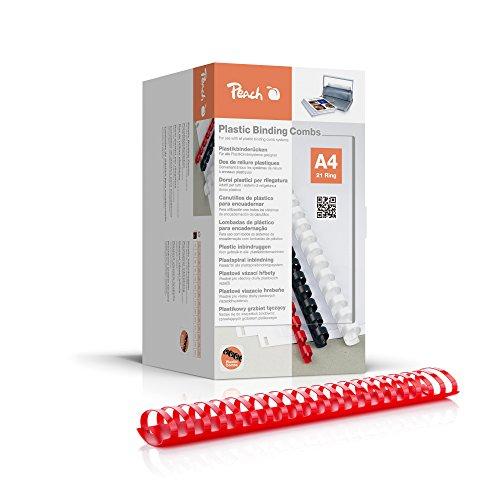 Peach PB450-03 bindruggen, plastic binding, DIN A4, inbindcapaciteit 500 pagina's, 50 stuks rood