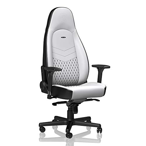 noblechairs ICON Gaming Chair - Office Chair - Desk Chair - PU Faux Leather - Ergonomic - Cold Foam Upholstery - 330 lbs - Racing Seat Design - White/Black chair gaming white