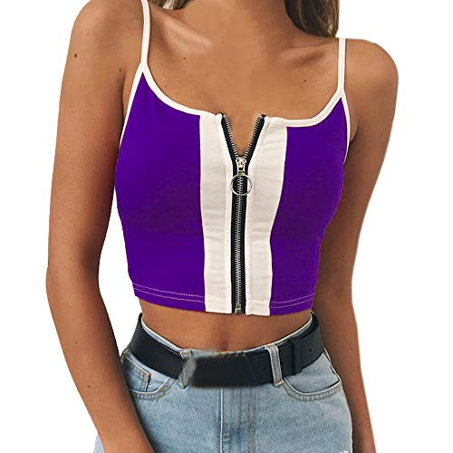 OSYARD Damen Sexy Backless Crop Top Kurz Trägershirts Tank Tops Weste mit Reißverschluss, Frauen Colorblock Ärmellos T-Shirt Camisole Weste Vest Behälter Unterhemd