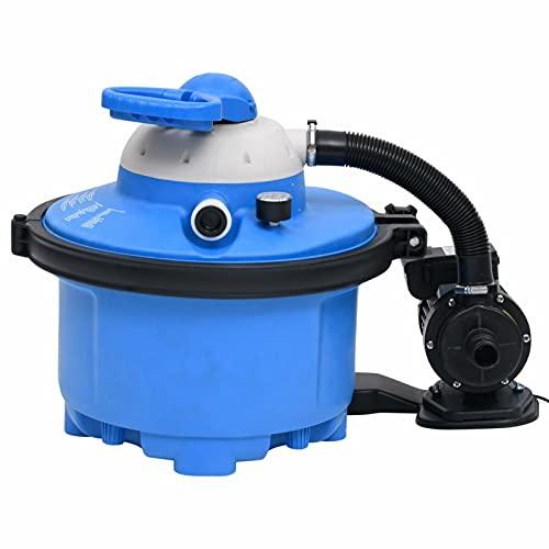 Fest-night Depuradora Azul y Negro 4000 l/h Bomba de Filtro de Arena con válvula con 7 Funciones Filtro de Agua para Piscina