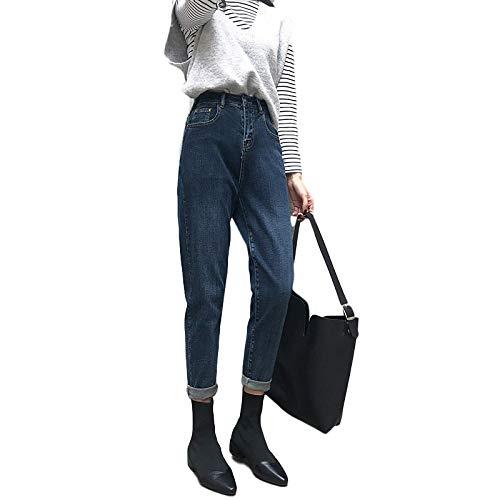 Pantalones Vaqueros de Cintura Alta para Mujer Moda Color sólido Estiramiento Sencillez Casual Trabajo de Oficina Pantalones de Mezclilla cómodos Todas Las Estaciones L