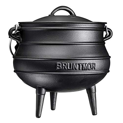 Cast Iron PreSeasoned Potjie African Pot With Lid 8 Quarts With Wooden Crate SIze 3