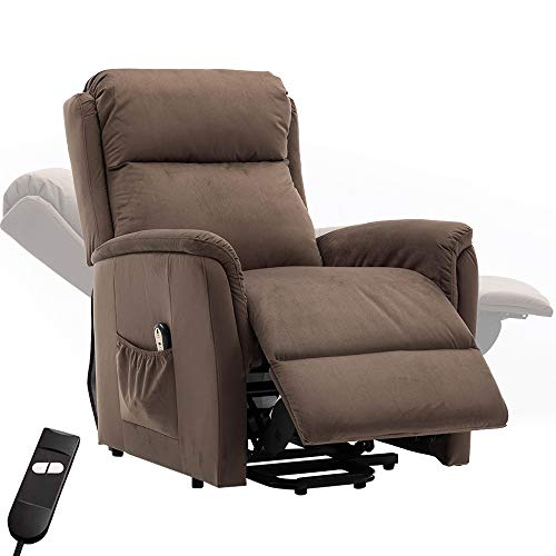 Bonzy Home Power Lift Recliner Chair Electric Recliner with Remote Control - Bedroom & Living Room Chair Recliner Sofa for Elderly (Brown D129)