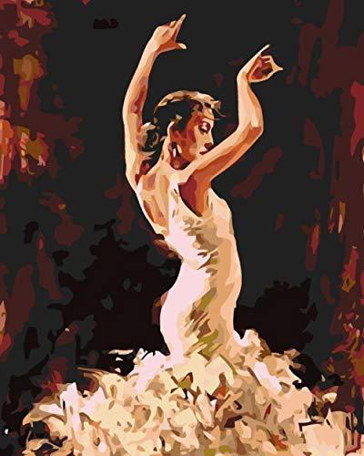 RJDHNGAK Bailarina En BlancoPintura por Numeros Adultos NiñOs Pintar por Numeros,DIY Conjunto Completo De Pinturas Surtidas Pintura Al óLeo Kit Decoraciones para El Hogar 50x40cm sin Marco