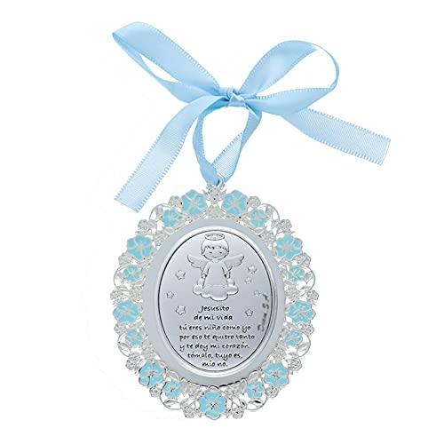 Medalla para Cuna/Carro Ángel Esmalte Azul Plata Bilaminada