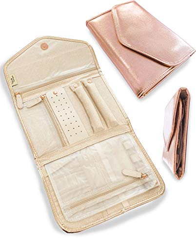 Altitude Boutique Travel Jewelry Organizer Roll Foldable Jewelry Case for Journey Packing VacationRings Necklaces Bracelets Earrings Rose Gold Medium