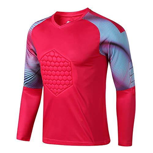 YSPORT Fußball Antikollisions Torwart Uniform Brustschutz Ellenbogenstütze Drachenhemd Lange Ärmel (Color : Red, Size : L)