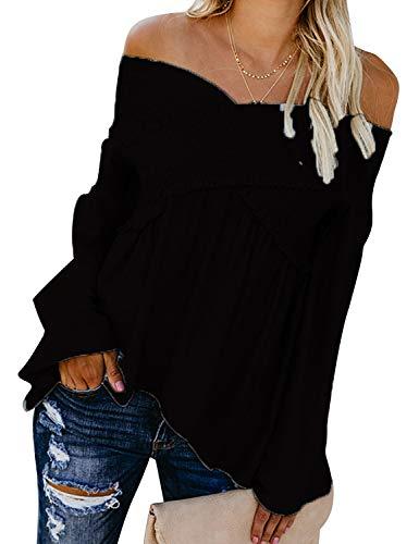 Top Escote Cruzado Mujer Camisas Cuello Pico en V Blusa Hombro Descubierto Camiseta Escotado Tunica Manga Larga Trompeta Jerseys Otoño-invierno Sudadera Primavera Pullover Bardot Camisa Plisada Sueter