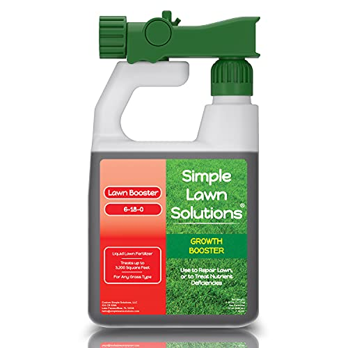 Extreme Grass Growth Lawn Booster- Liquid Spray Concentrated Starter Fertilizer with Humic Acid- Any Grass Type- Simple Lawn Solutions (32 oz. w/ Sprayer)