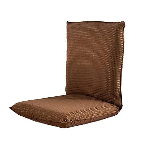 LXLTL Silla Plegable de Suelo Acolchada Regulable con Respaldo, Cojín con Respaldo para el Hogar y la Oficina, Sillon Relax para Meditación o Gaming,Marrón