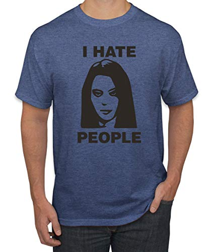 I Hate People Funny April Quote Parks and Rec | Mens Pop Culture Graphic T-Shirt, Vintage Heather Blue, Large