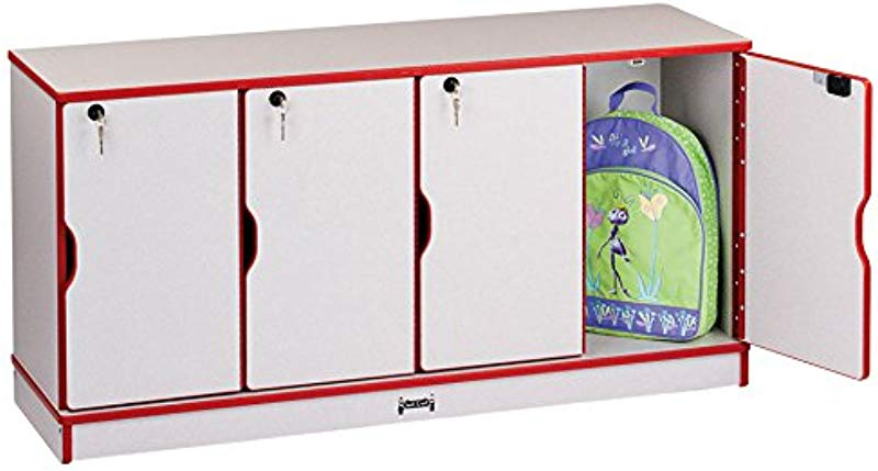 Rainbow Accents 4688JC008 Stacking Lockable Lockers Single Stack Red