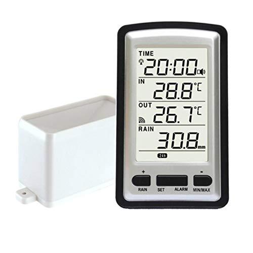 Urstory1 Kabelloser Regenmesser mit Regensammler, digitaler Regenmesser, digitales Wetterinstrument, Innen- und Außentemperatur, Zeitkalenderanzeige, Wetterstation Messgerät Temperaturrekorder