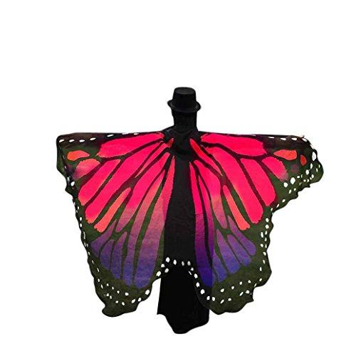 FNKDOR Fasching Kostüm Schmetterling Damen Mädchen Flügel Fee Nymphe Elfen Flügel (197 * 125CM, Rosa-B)