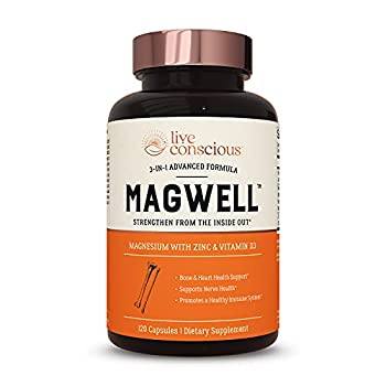 Magnesium Zinc & Vitamin D3 - Most Bioavailable Forms of Magnesium - Malate Glycinate Citrate - MagWell by LiveWell   Bone & Heart Health Immune System Support - 120 Capsules