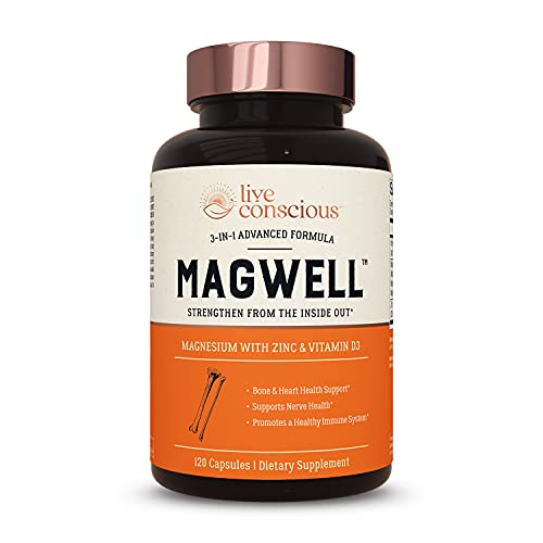 Magnesium Zinc &Amp; Vitamin D3 - Most Bioavailable Forms Of Magnesium - Malate, Glycinate, Citrate - Magwell By Livewell   Bone &Amp; Heart Health, Immune System Support - 120 Capsules