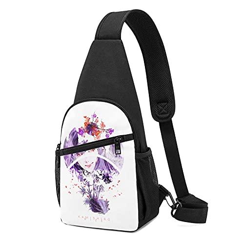 to-ky-o Gh-o-u-l Landscape Violet Sakura Dn Crossbody Bolsas para mujer y hombre, multifunción, bolso de pecho para senderismo, camping, deportes